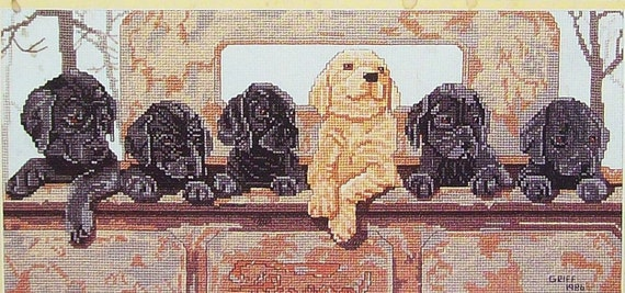 Pegasus By Patricia Rowe Dukes Griff SIX PACK Labrador Retriever Puppies  - Counted Cross Stitch Pattern Chart