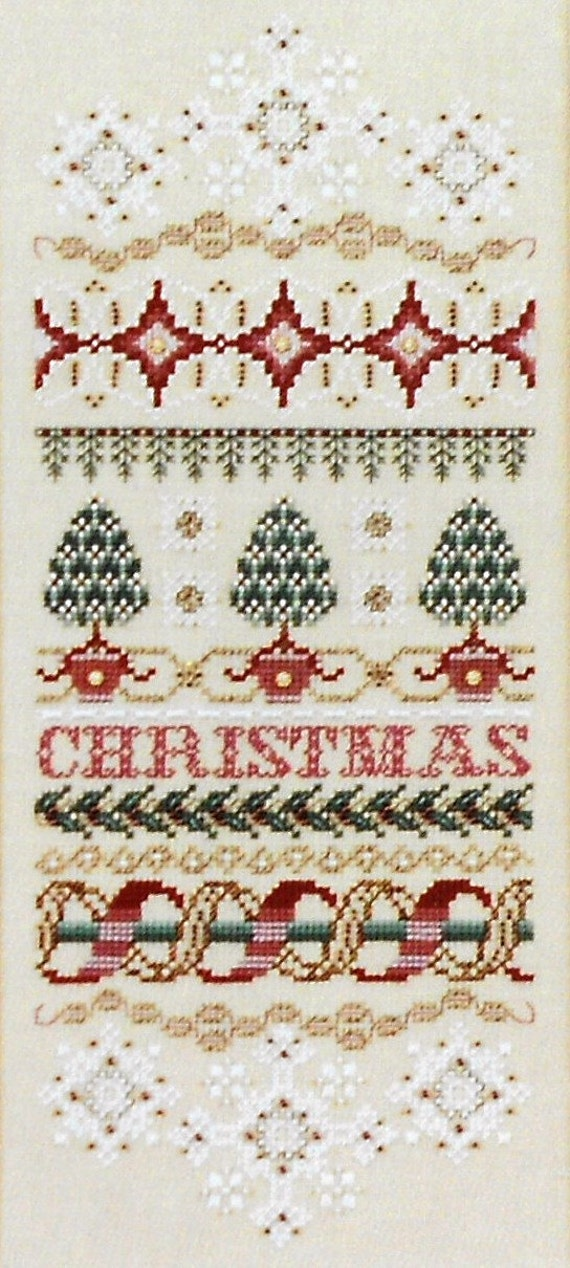 Exquisite Just Nan CHRISTMAS ELEGANCE Band SAMPLER & Embellishment Beads Accessory Pack Kit - Counted Cross Stitch Pattern Chart