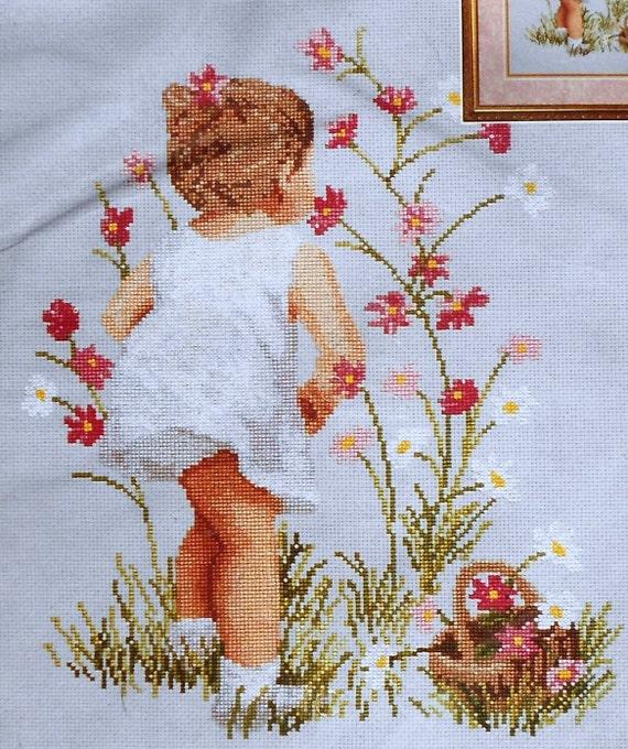 Flower Baskets Cross Stitch Charts : Janlynn counted cross stitch pattern chart kit girl with
