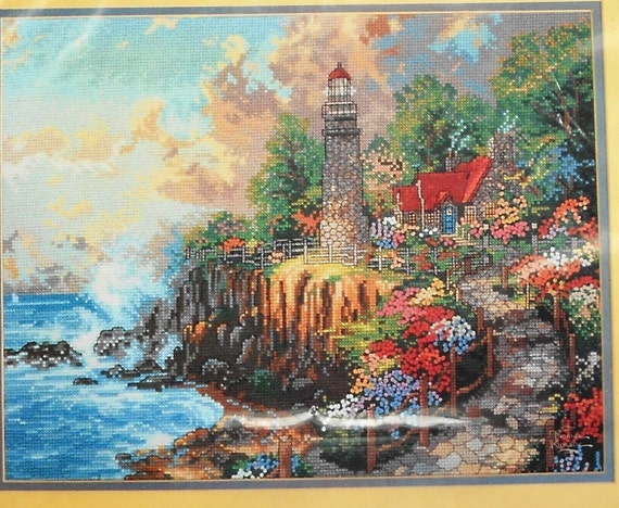 Candamar Designs THOMAS KINKADE Light Of Peace LIGHTHOUSE - Counted Cross Stitch Pattern Chart Kit
