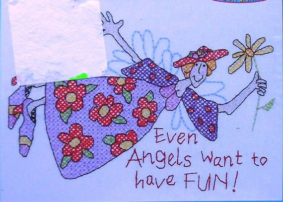 Janlynn Designs For The Needle - Stamped CROSS STITCH PATTERN Chart Kit - Angels Want To Have Fun