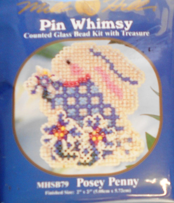 DAZZLING Mill Hill Beads Pin Whimsy POSEY PENNY Bunny Rabbit Counted Cross Stitch Glass Bead Pin Kit