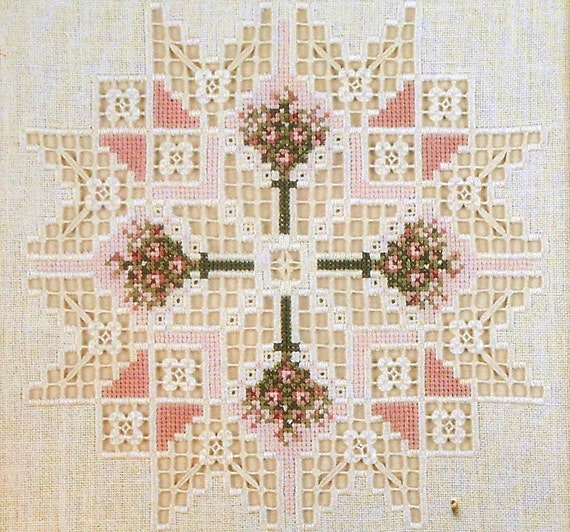 Emie Bishop Cross N Patch A QUILTER'S GARDEN - Counted Cross Stitch Hardanger Drawn Thread Pattern Chart