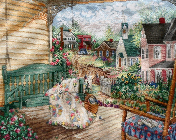 Exquisite Finished Completed Counted Cross Stitch Picture - VICTORY GARDEN House Porch Swing Quilt - Paula Vaughan Vaughn