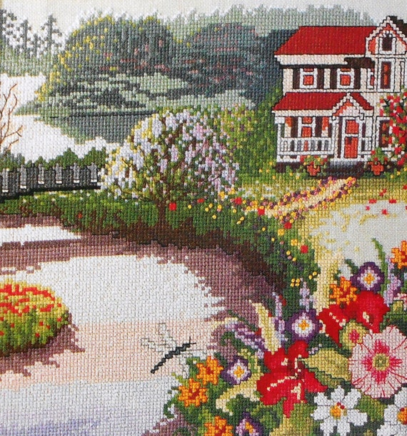 Shilpa Gore GARDEN COTTAGE Picture - Counted Cross Stitch Pattern Chart