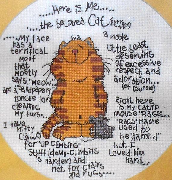 Vintage Sew Fine BELOVED CAT By Janlynn 116-02 - Counted Cross Stitch Kit