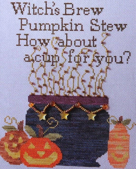 Lynda Orme WITCH'S BREW Halloween Picture - Counted Cross Stitch Pattern Chart - fam