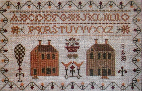 Fine Fancywork Folk Artist Collection COLONIAL HOMES Sampler - Counted Cross Stitch or Needlepoint Pattern Chart