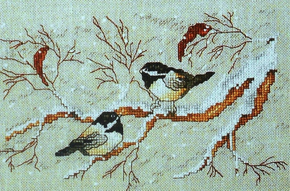 Vintage Claudia Anderson WINTER DUET Cardinal Chickadee Leisure Arts - Counted Cross Stitch Pattern Chart