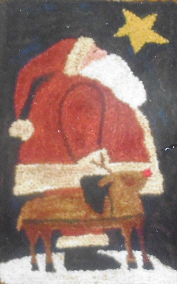 Shawn Williams Threads That Bind CHRISTMAS EVE Santa Claus Punchneedle Embroidery Pattern Template