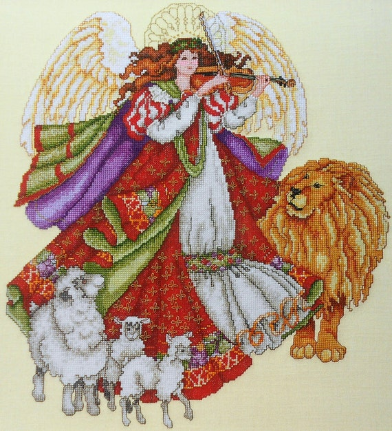 Barbara Baatz Masterpiece Collection ANGEL Of PEACE Lion Lamb - Counted Cross Stitch Pattern Chart - American School Of Needlework