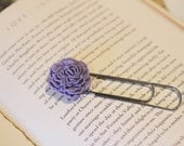 Giant PaperClip Bookmark topped with Lilac Purple colored Peony Cabochon