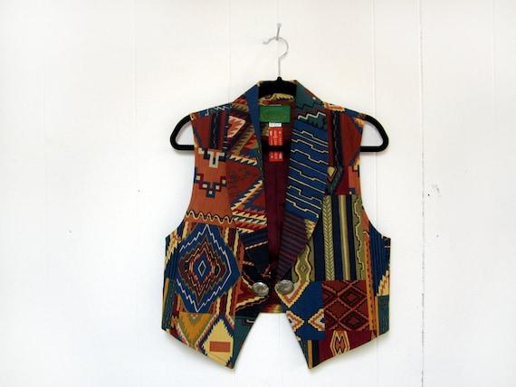 Women's M Vintage Funky Vibrant South Western Print Vest