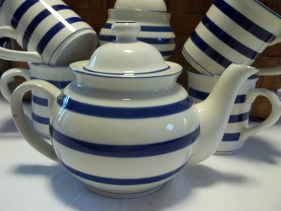 Blue and White Striped Teapot, Mugs, and Sugarbowl Set