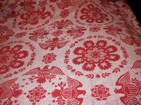 Vintage Americana  Patriotic Full Size Red and White Bedspread
