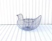 vintage egg basket - light gray blue