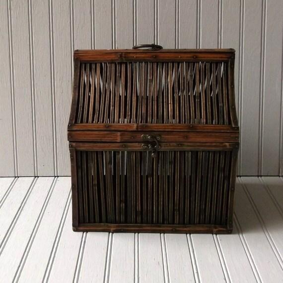 vintage wicker storage box