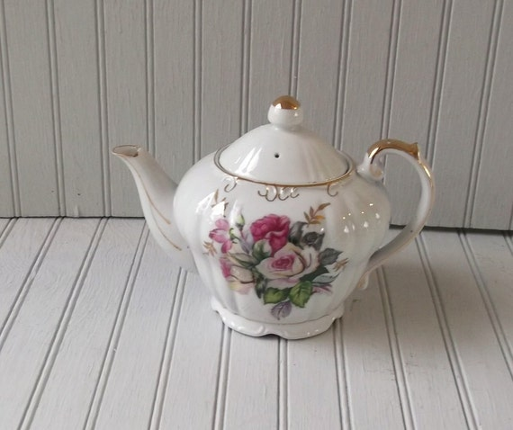 vintage floral teapot - roses  with gold accents