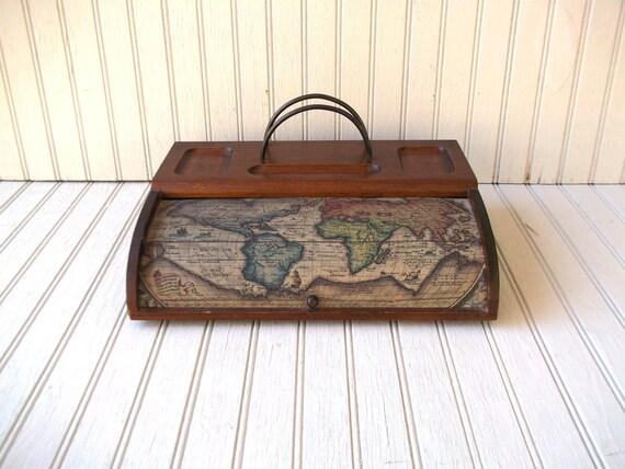 vintage old world map wooden desk organizer and letter holder