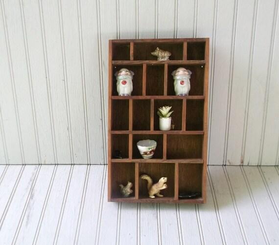 vintage curio display shelf, knick-knacks included