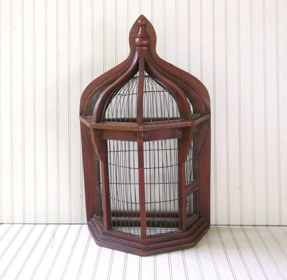 vintage mid-century flat-back decorative birdcage