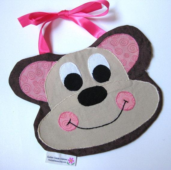 SALE Baby's bib - Monkey (pink)