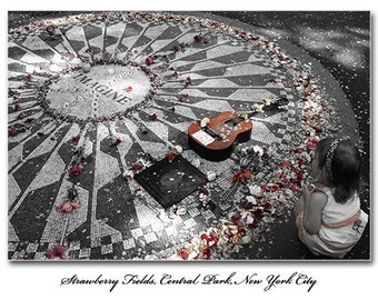 Girl at Strawberry Fields Print, John Lennon, Beatles, New York, City, Central Park, NYC, Red, B&W, Black, White, Child, Young