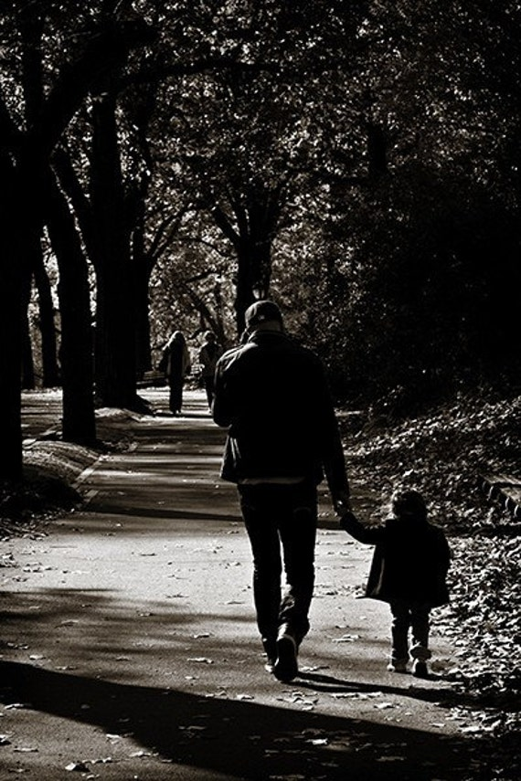 Daddy Daughter Day Print in Black & White, New York, NYC, City, Urban, Family, Father, Girl, Young, Son, Mother, Mom, Dad, Mommy, Child