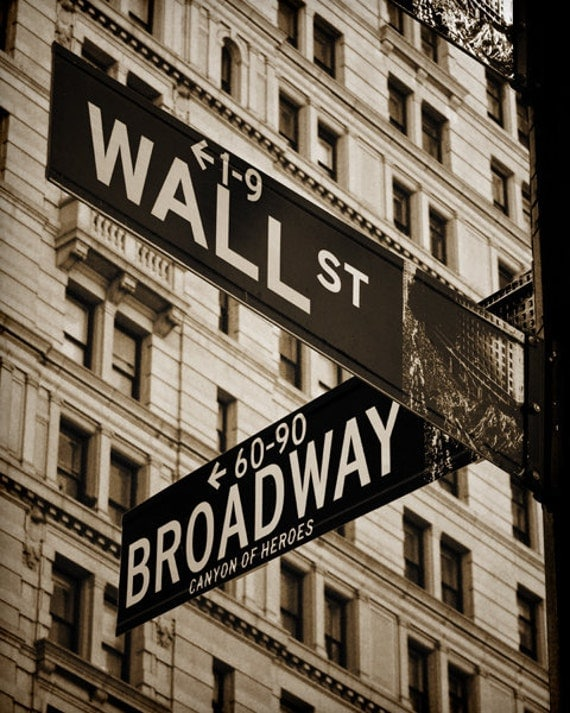 Wall Street Amp Broadway New York Nyc Sepia By