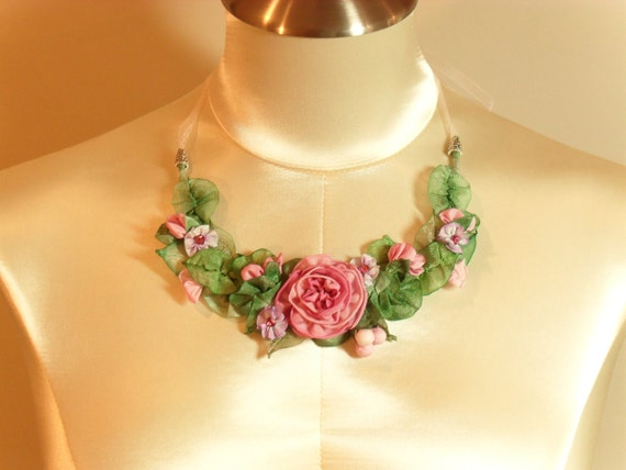 Necklace with handmade French ribbon roses choker pink roses wedding