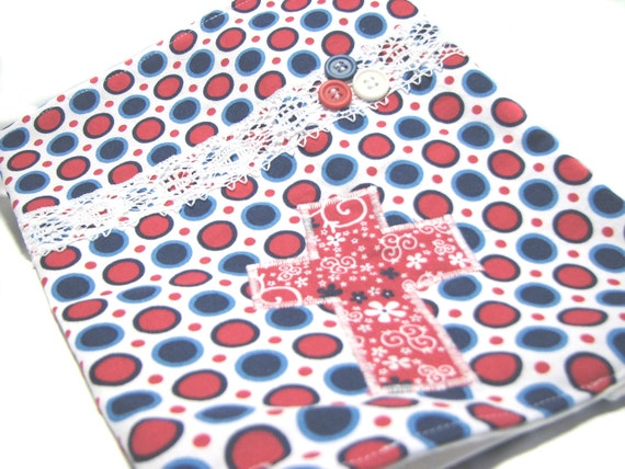 Ready to Ship Bible Cover - Great Easter Gift - Red White Blue Dots - Cross Applique