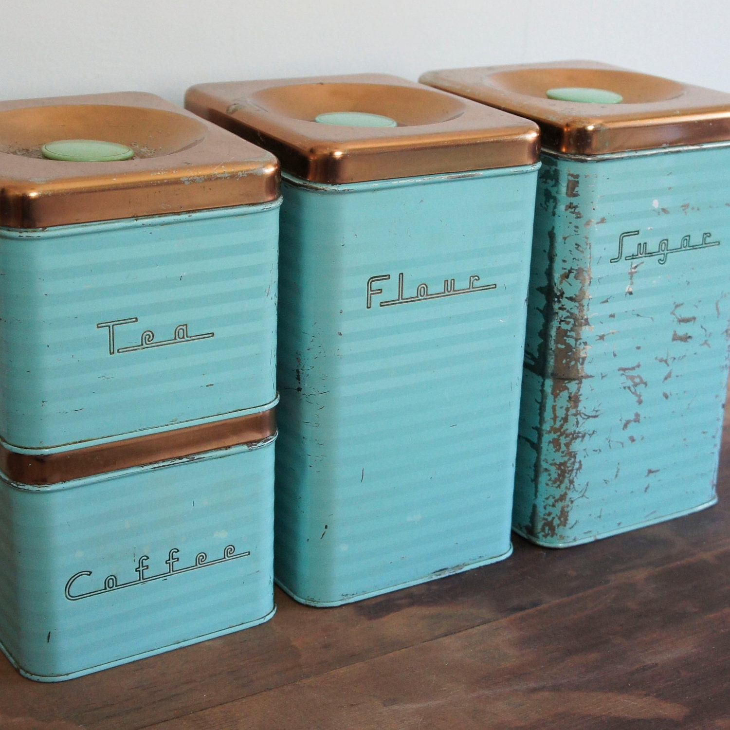 Retro Aqua Kitchen Canister Set With Copper Lids