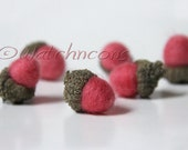 6 Needle Felted Wool Acorns Woodland Decor  - Watermelon Pink Color