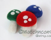 3 Needle Felted Wool Mushrooms Toadstools Woodland Decor Home Red Green Blue