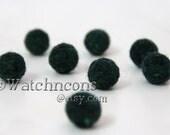 8 Needle Felted Balls Deep Evergreen Wool Beads Earthy Forest Green