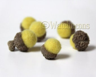 6 Soft Yellow Needle Felted Wool Acorns Woodland Home Decor Sunny Butter Color
