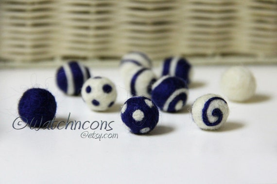 Needle Felted Wool Balls Beads Dots Swirls - Deep Blue & White Set of 10