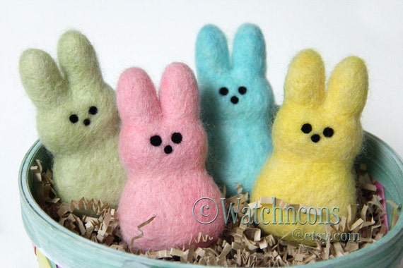 Set of 4 Needle Felted Wool Easter Peep Style Bunnies - Yellow Pink Green Blue