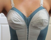 Vtg 50s Bullet Bra Bustier - Hand Dyed -Upcycled Turquoise - 36 B / C