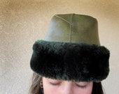 SALE 1950s Garrison Hat Vinyl & Faux Fur Vintage, Military GREEN, RARE // M