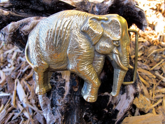 Vtg 70s ELEPHANT Belt BUCKLE Retro Solid Brass