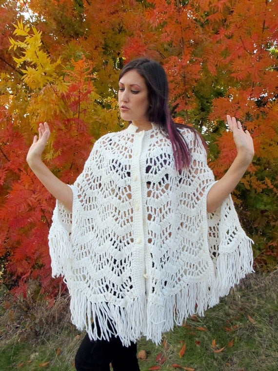 SALE 1960s Crochet Shawl / Cape-let / Wrap w/ Pearly Buttons & Mandarin Collar FRINGE witchy Knit Cape O/S