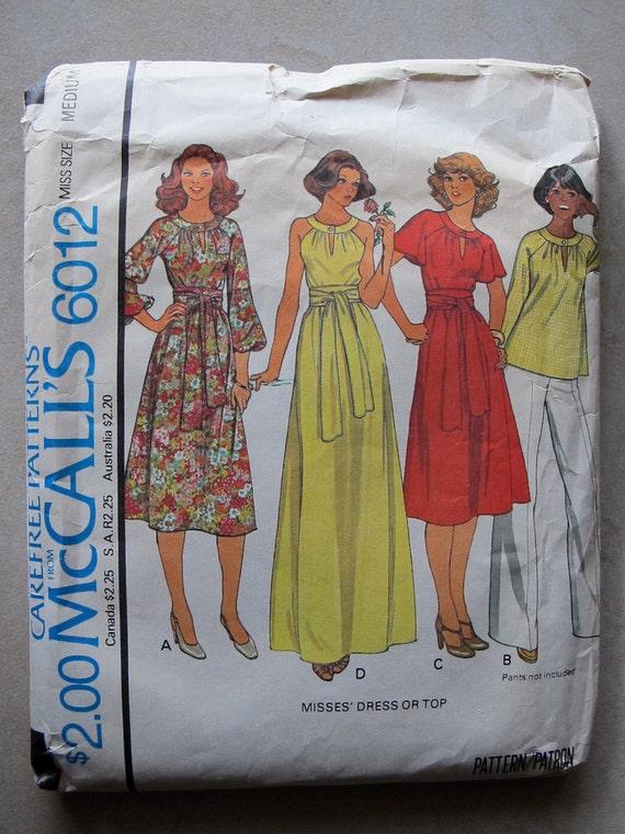 Vtg 70s SEWING PATTERN - McCall's Dress, Cutout Neckline, Flutter Sleeves, Hourglass, Shirt, Top, No. 6012 avant garde Carefree Patterns