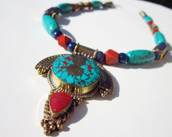 SALE - Lapis Lazuli, Turquoise, Coral, and Red Jasper Necklace with Nepalese Pendant: Kathmandu Dreams II - OOAK