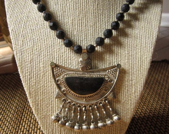 SALE - Badria: Faceted Black Onyx, Afghani Onyx Pendant, Karen Hill Tribe Beads, Pyrite, & Faceted Sterling Silver - OOAK Statement Necklace