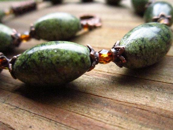 SALE - Russian Serpentine & Antique Copper Necklace: Autumn Moss - OOAK