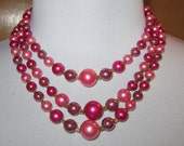 Vintage Triple Hot Pink Cotton Candy Beaded Necklace