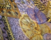 Fun Purple and Gold Floral Scarf