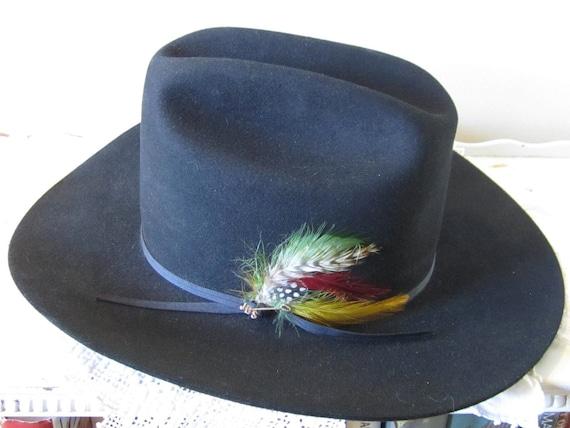 Just Reduced Black Stetson Cowboy Hat 5X Beaver Fur Felt Cowboy Ranch