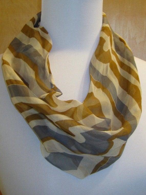 Vintage Vera Silk Blend Cowl Abstract Scarf